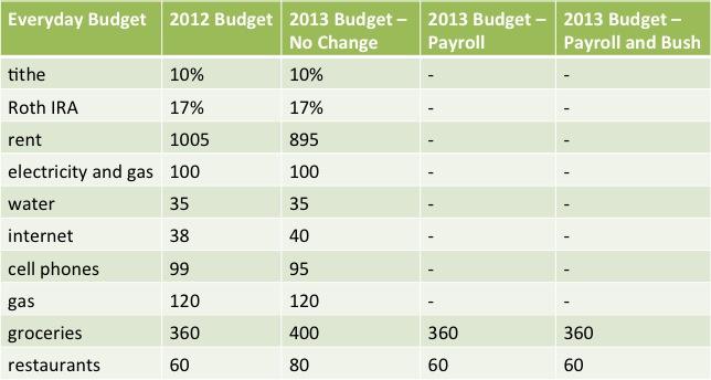 2013 everyday budget