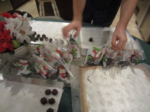 packing up our homemade gift - peanut butter balls!