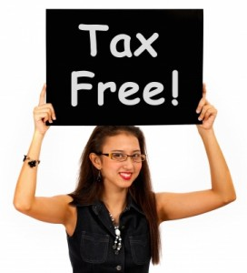 girl with tax free sign