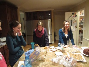 laughing over sandwich-making techniques