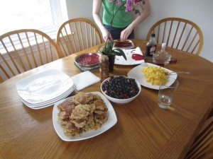 our brunch spread, including oatmeal-apricot-almond pancakes!