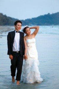 bridal couple on beach