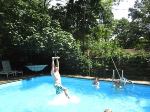 zipline into pool