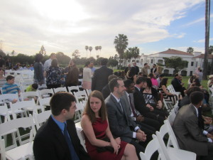 group seated at wedding