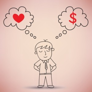 man thinking love and money