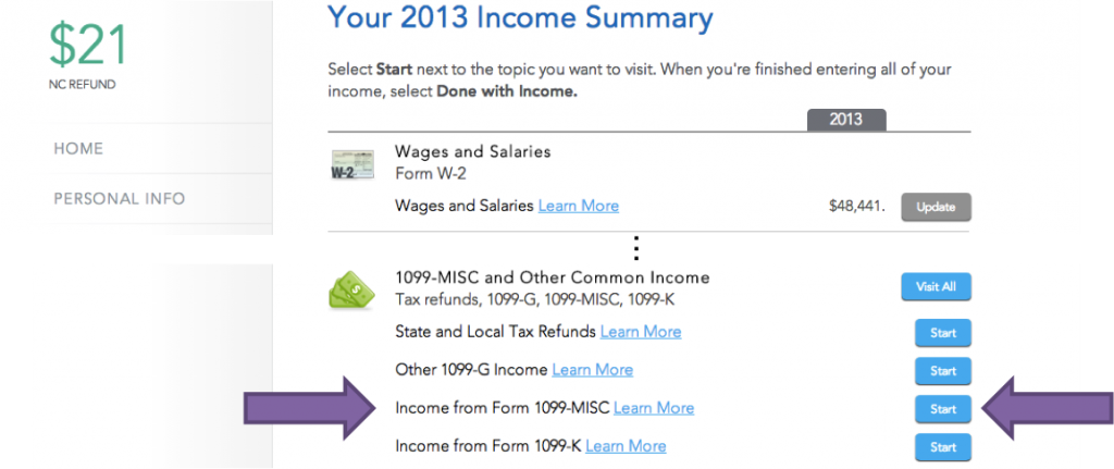 income summary for 1099-MISC