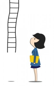 cartoon woman and ladder