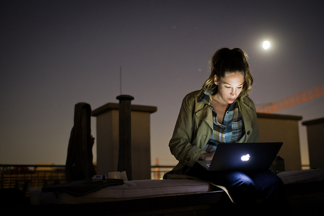 laptop by moonlight