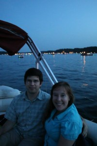 enjoying fireworks out on a lake!