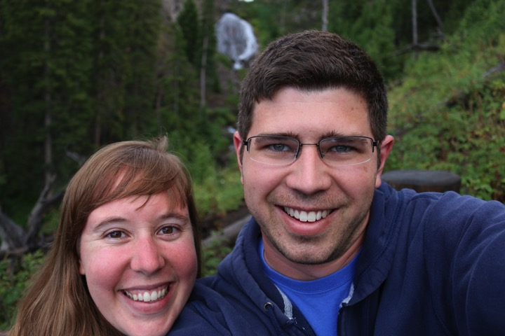 our first selfie attempt with our nice camera - in front of another waterfall