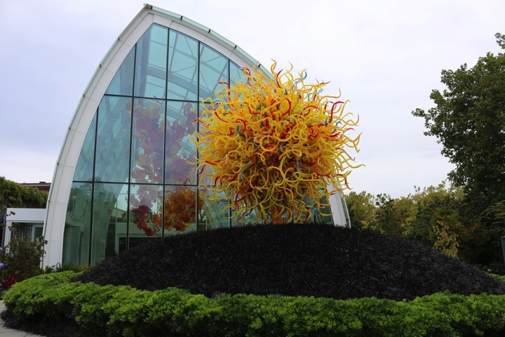 two huge glass sculptures