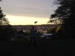 tossing a frisbee in a park near our home